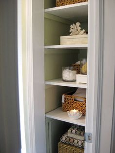 I'm thinking about removing the linen closet door in our hall bathroom- the closet is almost identical to this one and the door feels unnecessary.