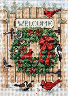Inviting Holiday Wreath by Barbara Goss cross stitch kit $21.99 on Maggierae at http://www.maggierae.com/storefrontprofiles/DeluxeSFItemDetail.aspx?sid=1&sfid=34917&c=24210&i=7432697
