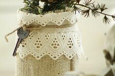 Mason jar with burlap and lace by wanda