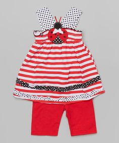Look at this #zulilyfind! Red & White Ladybug Tank & Shorts - Infant, Toddler & Girls by Nannette Girl #zulilyfinds