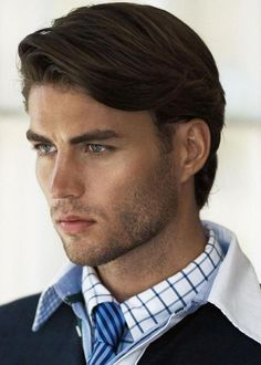 A bit more uniform in length (no drop off from front to back) and undercut on part side2015 medium haircuts men