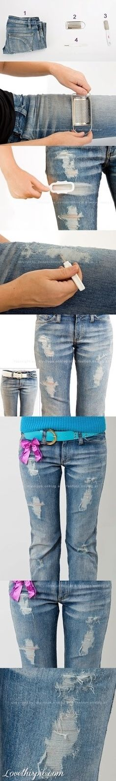 DIY Ripped Jeans Look crafts craft ideas easy crafts diy ideas diy crafts diy clothes easy diy fun diy craft clothes craft fashion fashion diy diy jeans craft jeans