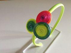 Stirnband Farbe Spiralen Fluorid. von Corazones de Colores auf DaWanda.com