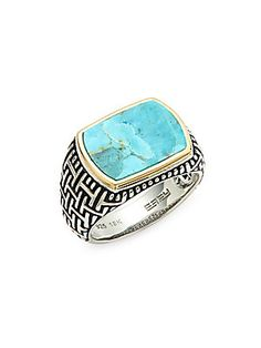 Effy - Men s Sterling Silver Turquoise Cocktail Ring b499e7969c9