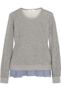 CLU|Ruffle-trimmed cotton-blend jersey sweatshirt|NET-A-PORTER.COM