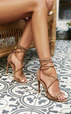 Showpo x Billini - Kalahari Heels in stone micro Produced By SHOWPO Sexy Legs And Heels, Hot High Heels, Lace Up Heels, Beautiful High Heels, Gorgeous Feet, Beautiful Legs, Stilettos, Stiletto Heels, Formal Heels