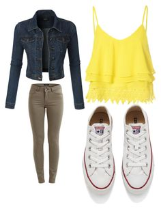 """""""Untitled #2"""" by jocelynalcala on Polyvore featuring LE3NO, Glamorous, VILA, Converse, women's clothing, women, female, woman, misses and juniors"""