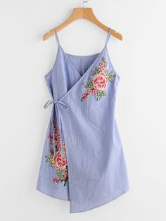 d20b31521e SheIn offers Embroidered Flower Applique Pinstripe Asymmetric Wrap Dress    more to fit your fashionable needs.