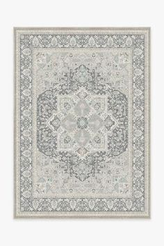 The Hendesi Heriz Abalone Rug is a classic Persian-style rug that features an oversized medallion in the center surrounded by ornate borders. Tinted in neutral colors, this sophisticated rug will elevate any room in your home. Washable Area Rugs, Machine Washable Rugs, Coral Rug, Black White Rug, 5x7 Rugs, Natural Rug, Persian Rug, Persian Carpet, My New Room