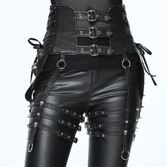 Imitation leather rivets steampunk goth skull lace up womens waistband Cyberpunk Mode, Cyberpunk Fashion, Dark Fashion, Leather Fashion, Fashion Goth, Steampunk Fashion, Gothic Steampunk, Gothic Fashion Men, Style Fashion