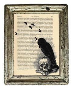 Edgar Allen Poe's The Raven artistic print--upcycled antique bookpage Halloween Home Decor, Vintage Halloween, Halloween Decorations, Dark Wings, Edgar Allen Poe, Raven Art, Beautiful Poetry, Crows Ravens, Halloween Poster