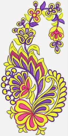 Blomme met Paisley figuur ontwerp Stiksweis