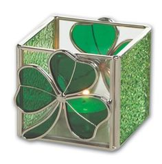 Amazon.com: Irish Stained Glass Shamrock Candle Holder 3 x 3: Home & Kitchen