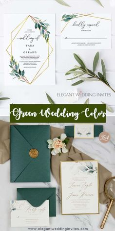 Shade of green cheap wedding invitations for elegant fall winter wedding ideas. The geometric touch of this invite has perfectly placed greenery that really stands out! Its a modern look that is simplistic in nature and looks very high end without the high end price.