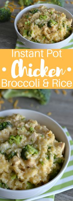 Instant Pot Chicken Broccoli and Rice is the perfect solution for a busy week night dinner! In only 5 minutes of your time you can have a delicious home cooked meal on your table! (healthy meals for dinner night) Pressure Cooking Recipes, Slow Cooker Recipes, Crockpot Recipes, Chicken Recipes, Delicious Recipes, Rice Recipes, One Pot Meals, No Cook Meals, Do It Yourself Food
