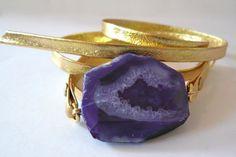 purple agate wrap bracelet