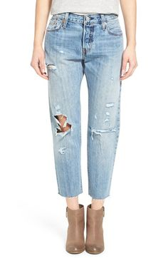 Levi's® '501 CT' Distressed Boyfriend Jeans (Onyx Mountain) available at #Nordstrom