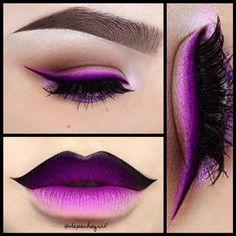 """Purple Liner Joker Lips Lips - NYX Black Gel Liner, MAC """"Phlox Garden"""" Fluidline, """"Heroine"""" Lipstick, """"Magenta"""" Lip Liner. Eyes - MAC """"Phlox Garden"""" Fluidline, """"Blanc Type"""" """"Seedy Pearl"""" Eyeshadows. Inglot Gel Liners in #74 73. NYX Matte Eyeshadows in """"Skinny Dip,"""" """"Dance The Tides,"""" """"Maybe Later,"""" """"Purple"""" Loose Pearl Eyeshadow. Ardell Lashes #113 #104 stacked. Brush to line my lips, eyeliner eyebrows."""