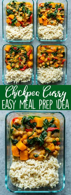 This easy Chickpea Curry is a great healthy meal prep idea, as well as a quick weeknight dinner recipe! Packed with veggies, this chickpea curry is also gluten free and easily made vegan! Quick Dinner Recipes, Super Healthy Recipes, Healthy Breakfast Recipes, Clean Recipes, Quick Easy Meals, Free Recipes, It's Easy, Easy Recipes, Lunch Meal Prep