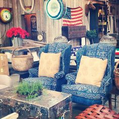 Reupholstered wing back chairs with vintage indigo textiles @Big Daddy's Antiques located at 3334 La Cienega Place, Los Angeles 90016