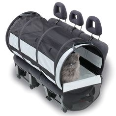 """Cat or small dog carrier: The Pet Safety Travel Tube (Small) by Hammacher Schlemmer (Pinned 10 Sep. 2014). Interesting idea. Tube has scratch-resistant, waterproof bottom, washable, stable but grippable liner, mesh """"roof"""" for shade with good airflow; sprung steel coil frame; seat anchors. She might be happier in this than a standard carrier, but how do I get the cat from the vehicle to the destination without chance of her escaping? Harness & leash?"""