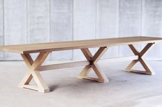Cross table - made to measure in French Oak by Heerenhuis