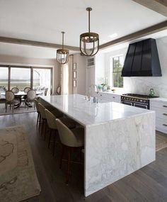 Sink In Island, Marble Island, Kitchen Island With Seating, Kitchen Islands, Long Island, New Kitchen, Kitchen Decor, Kitchen Ideas, Kitchen Wood