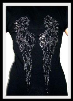 Angels Wings Gothic Women's Slim Fit T-Shirt (SMALL) @SkullsBonesTattoos