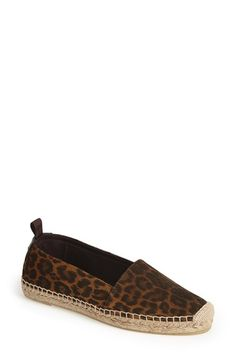 """Free shipping and returns on Saint Laurent Leopard Print Espadrille Flat (Women) at Nordstrom.com. <p><B STYLE=""""COLOR:#990000"""">Pre-order this style today! Add to Shopping Bag to view approximate ship date. You'll be charged only when your item ships.</b></p><br>A classic espadrille goes luxe in Saint Laurent's sueded leopard-print take."""