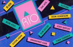 Rio with A-Ha, Bon Jovi, Elton John, Breakfast Club, Kim Wilde, The Jets, Expose, Don Johnson, Jody Watley, and Tina Turner. Legit.  #80s #poster #design