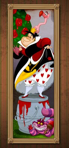The Queen of Hearts stands atop a bucket of red paint (instead of a barrel of dynamite). Disney Villains Take on Famous Roles in The Haunted Mansion « Disney Parks Blog