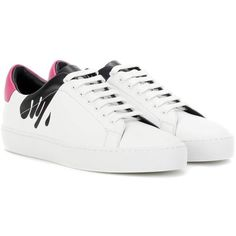 Burberry Westford Splash Sneakers (€330) via Polyvore featuring shoes, sneakers, white, white trainers, burberry, burberry trainers, white shoes and burberry shoes