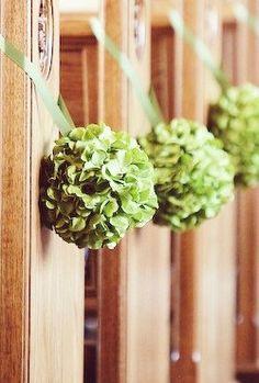 Wedding Pomanders, Green Hydrangea Kissing Balls for Pew Decorations set of 4…