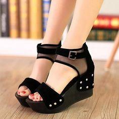 Shoes For Women Patchwork Grenadine Breathe Freely Wedge Heel Peep Toe Platform Sandals Dress Casual Black