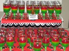 "Jello ""Traffic Lights"" at a Cars party #cars #partyfood"