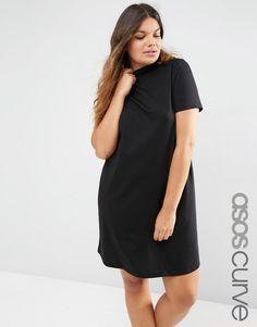 ASOS Curve | ASOS CURVE T-Shirt Dress With High Neck at ASOS