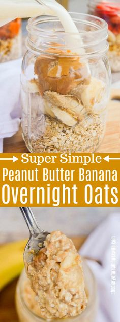 Try one of these 15 Simple & Healthy Overnight Oats Breakfast Recipes. From protein packed overnight oats, to banana overnight oats. They're all healthy breakfasts that will keep you full the whole morning. Overnight Oats Receita, Low Calorie Overnight Oats, Dairy Free Overnight Oats, Apple Overnight Oats, Peanut Butter Overnight Oats, Healthy Peanut Butter, Peanut Butter Banana Oats, Oatmeal With Banana, Healthy Overnight Oatmeal