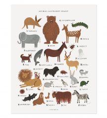 Rifle Paper Co. - Animal Alphabet Chart - Illustrated Art Print