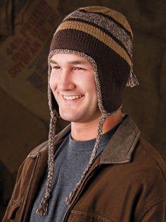 Knitting - Accessory Patterns - Hats, Hoods & Head Warmers - Racing Stripe Earflap Hat