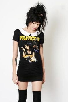 Custom made Pulp Fiction Collar Dress! White peter pan collar added. Professionally sewn. Altered from a black men's t-shirt. Sick!