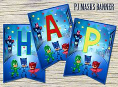 This adorable PJ MASK banners will be a perfect addition to celebrate your little one's birthday.  Note: this is an Instant Download (.jpeg file) Nothing is physically sent to you!  This set includes 13 banners spelling  HAPPY BIRTHDAY! in JPEG format. The Jpeg files are zipped and you can open them with winrar/winzip program (free)  Banner size: 7,5 x 10,5 inches Sheet size: (8,5 x 11 inches) / banner  PERSONALIZE MY BANNER:  Do you want to add the name of your child? PERSONALIZED ...