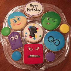 "Disney& ""Inside Out"" Cookies Fun Cupcakes, Birthday Cupcakes, Cupcake Cookies, Sugar Cookies, Disney Inside Out, Inside Out Party Ideas, Cupcakes Princesas, Inside Out Cakes, Movie Cakes"
