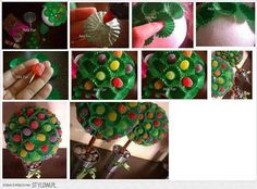 Fazer arvore de natal de jujuba: enfeite para mesa de festa de aniversário | Dicas de informática, moda, roupas, decoração e muito mais.