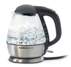Chef's Choice 6800001 Cordless Electric Glass Kettle by Edgecraft. $59.95. Automatic shut-off, boil-dry safety protection and secure locking lid. 1500-watt cordless glass teakettle quickly boils up to 1-3/4 quarts of water. Measures 9 by 7-1/2 by 10-Inch; 1-year limited warranty. Concealed heating element eliminates build-up of mineral deposits. Brushed stainless steel housing; water-level gauge; cord storage, ergonomic handle. Chef's Choice 680 Cordless Electric ...