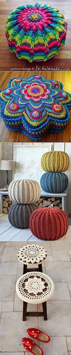 Crochet floor pillows