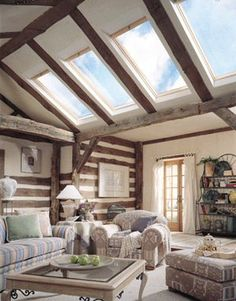 Skylights look kinda weird between exposed rafters. Residential Skylights, Residential Roofing, Luz Natural, Natural Light, Roof Design, House Design, Skylight Shade, Exposed Rafters, Roof Window