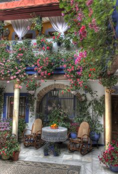 Córdoba Patio, Spain  I want to sit here, breathe deep, and have a cup of tea.....with you