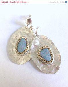 JULY SALE Opal and sterling silver handmade by YaronaJewelryDesign, $98.10