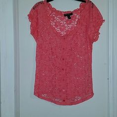 Cute top to wear with jeans. Breathable thick floral lace in a pinkish color. Can be worn off or on shoulders. Very cute for on a go shirt!! Tops Blouses