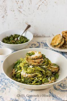 Makaron z pesto szpinakowym i chrupiącą cukinią Pesto, Chilli, Spinach Pasta, Orzo, Sprouts, Green Beans, Vegetables, Cooking, Healthy